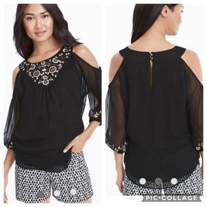 NWOT WHBM Embroidered Cold-Shoulder Blouse